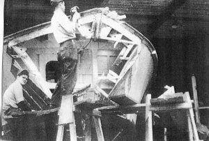 Hull repairs on a PT boat